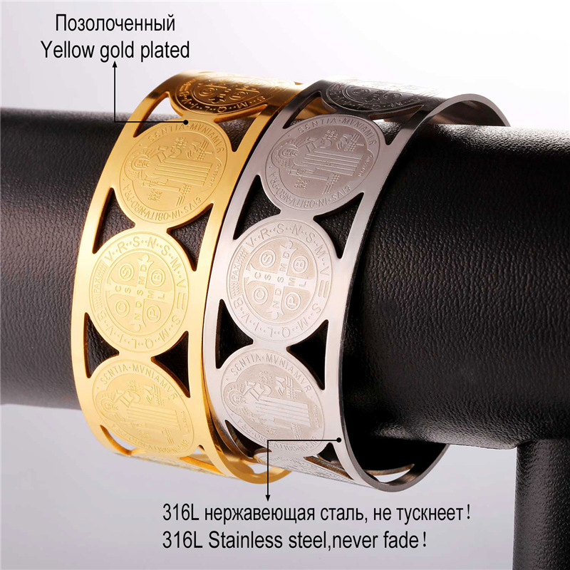 Collare Saint Benedict Medal Bangles 316L Stainless Steel Men Jewelry Gold Color St Benedict Medal Cuff Bracelets Women H162 4