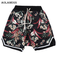 Aolamegs Shorts Men Floral Print Bermuda Mens Beach Knee length Shorts Loose High Street Sweatpants Drawstring Waist Streetwear