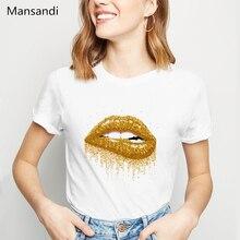 Pride Lgbt Gay Love Lesbian t shirt women Sexy Lips Gold Glitter Print T-Shirt femme harajuku summer tops tshirt female