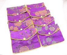 10 pcs purple flower baldachin cloth gift jewelry bags pouches 100mmx120mm