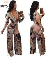 S XXXL IMYSEN Summer Autumn Sexy Jumpsuit Women Romper Plus Size Deep V Neck Long Sleeved