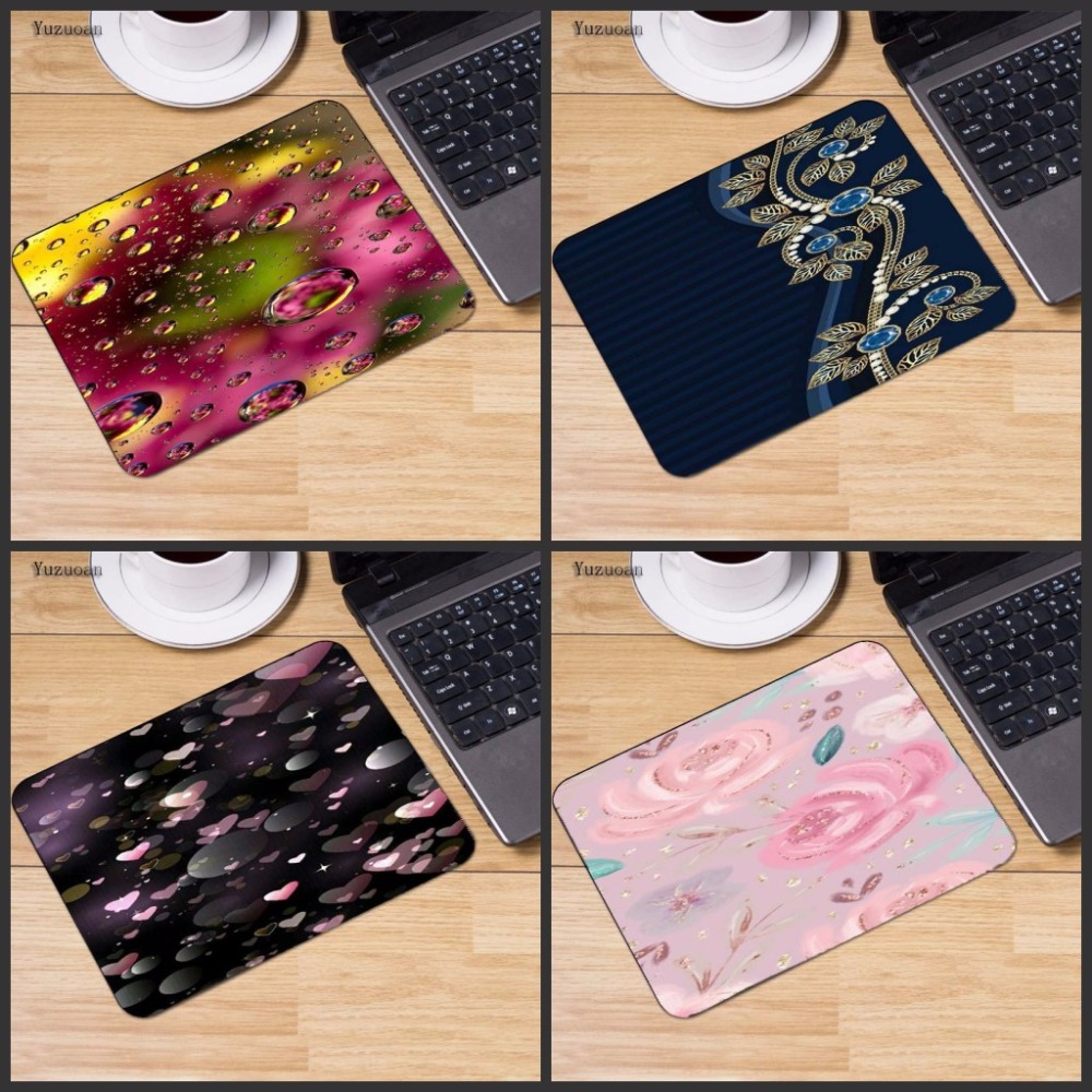 Yuzuoan Pink Flower Waterdrop Customized laptop Gaming mouse pad Size for 18x22cm 25x29cm Rubber Rectangle Desk Cup Mousemats