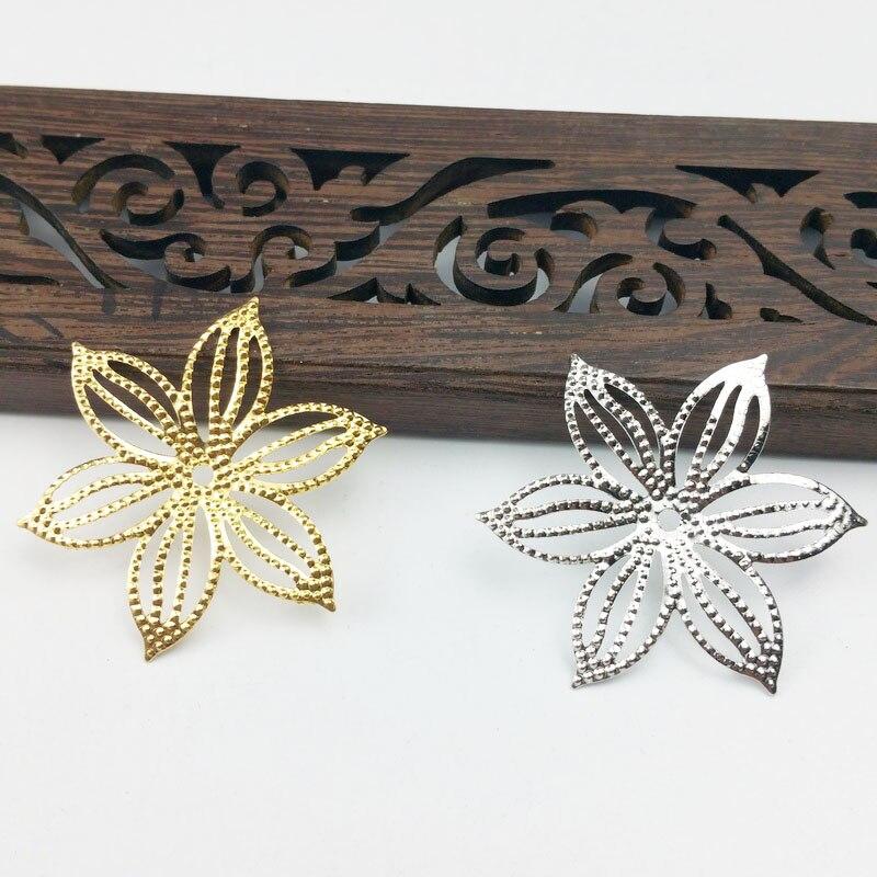 20pcs 36mm Filigree Flower  Wraps Metal Charms For Embellishment Scrapbook  DIY Jewelry Metal Craft  Jewelry Accessories