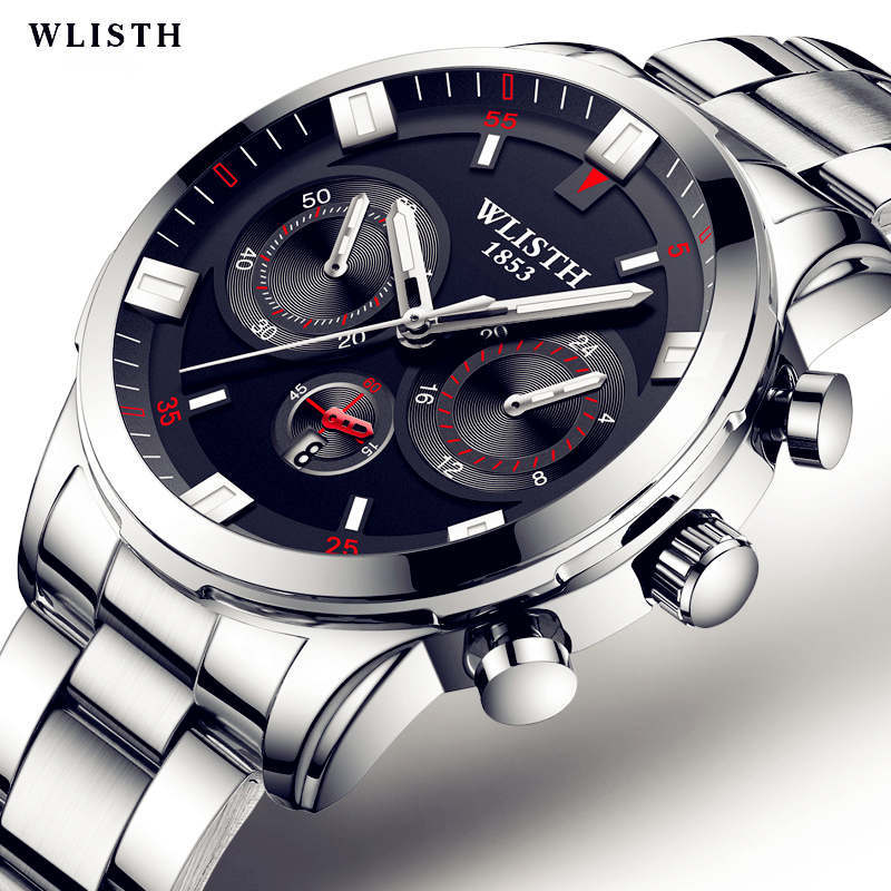 WLISTH Authentic Brands Watch Fashion Men Wrist Watches Sports Man Stainless Steel Quartz Clock Military Waterproof Calendar 100% authentic kingnuos men watch fashion couple high quality quartz clock watch band stainless steel man waterproof wrist watch