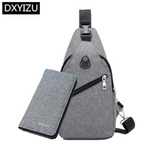 DINGXINYIZU small crossbody bags for men messenger mini sling chest bag set one shoulder travel pack male long wallet