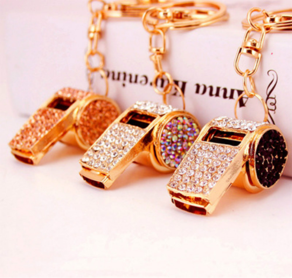Crystal Whistle Bag Pendant Keychains Football  Fans Gifts Soccer Souvenirs Alloy Rhinestone