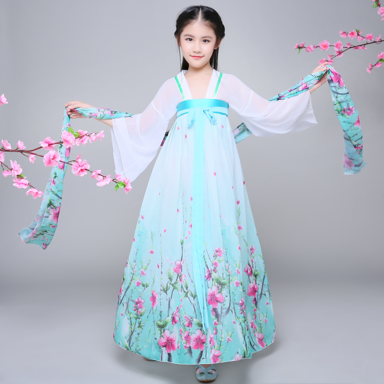 2018 autumn chinese traditional hanfu dresses girls child kids ancient chinese hanfu Chiffon dresses costume femal tang clothing 2017 autumn kids costume girls hanfu stage clothing photography costume song of the goose