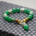 Bohemia style Green Malay Jade Chalcedony Crystal beads Bracelet hand chain for women girls Tibet Silver natural stones