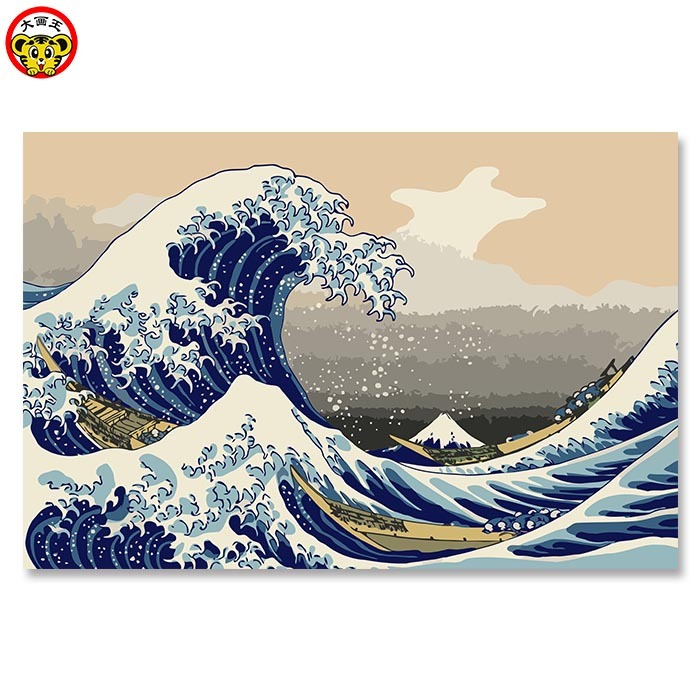 Float world draw Ukiyoe Mount Fuji, Japan Big fish house DIY Digital Painting By Numbers Modern Wall Art Canvas Painting Unique