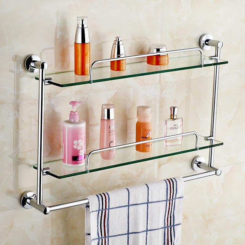 JSL Brass Bathroom Glass Shelf Finish With Tempered Glass,Bolt ...