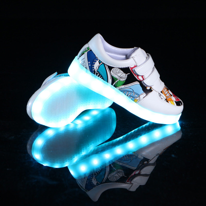 Children's Light-emitting  LED Colorful Sneakers USB Charging Luminous Shoes Magic Stickers Graffiti Kid's Shoes children s shoes girls boys shoes led tennis glowing sneakers with luminous sole usb charging magic stickers kids shoes
