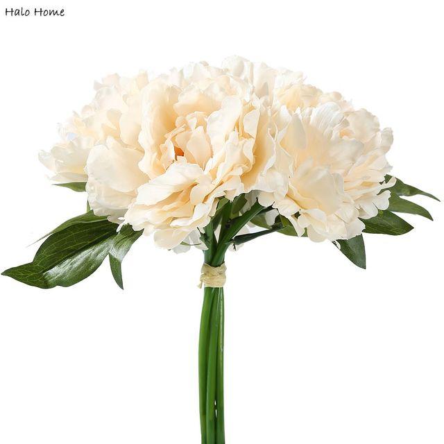 1 En Soie Bouquet Fleur Artificielle Beige Pivoine Pour La Maison ...