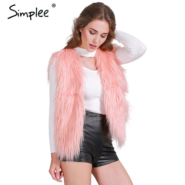 Simplee Faux fur pink women vest Autumn winter sleeveless white outerwear Hairy fluffy casual fashion overcoat 2018
