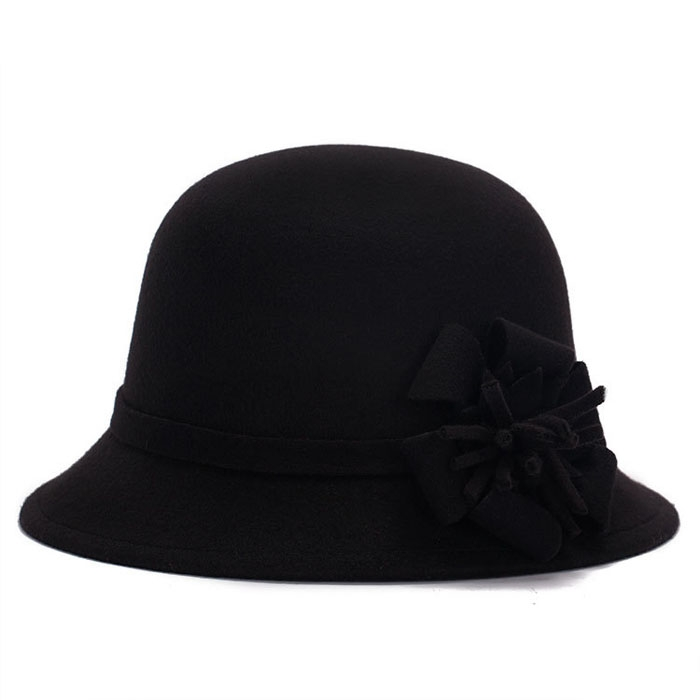 Women Vintage Imitation Wool Flower Felt Hat Winter Cloche Bucket Cap