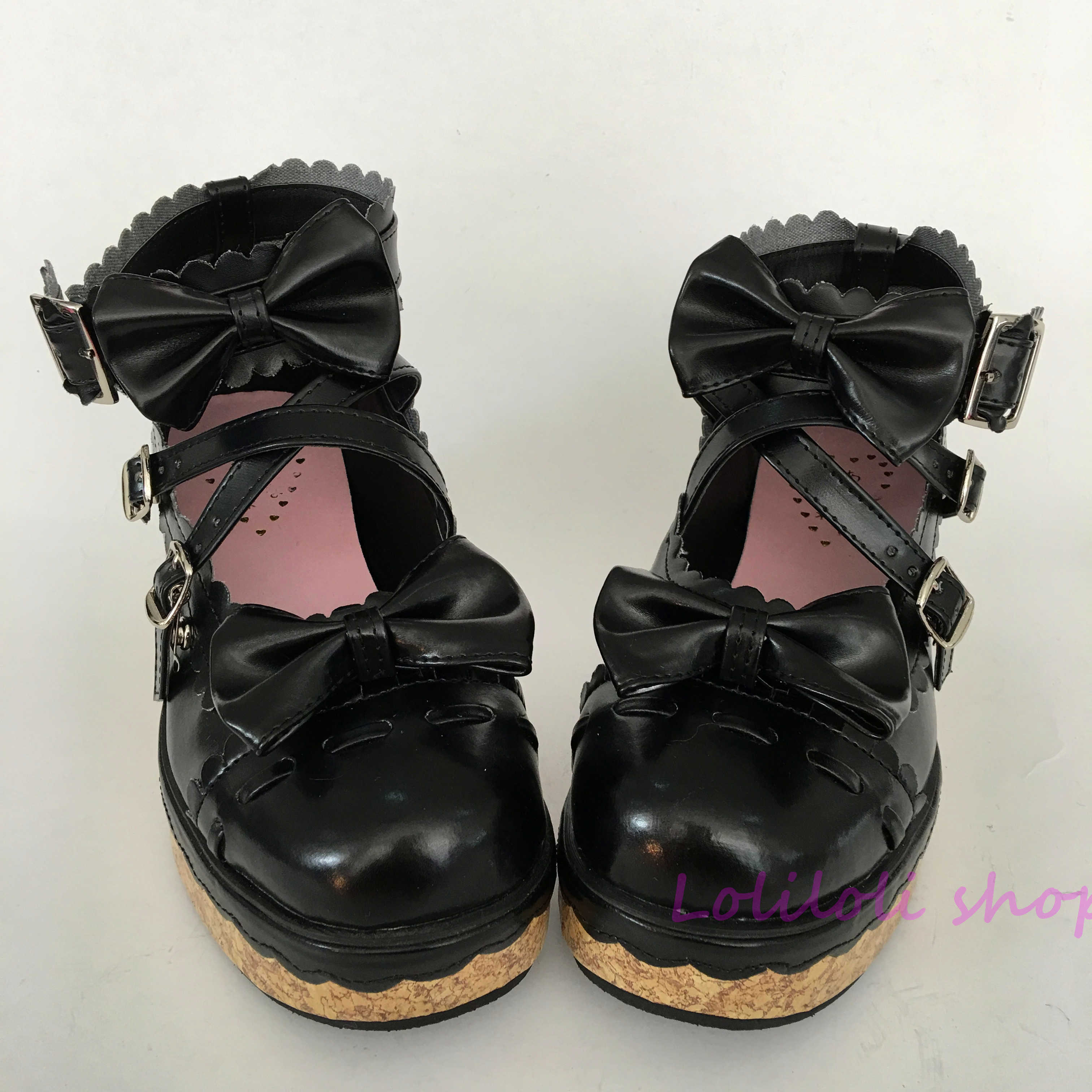 Princess sweet black lolita shoes Bow buckle Shoe of sponge cake Customer customized large size shoes By hand made lace an2002-8