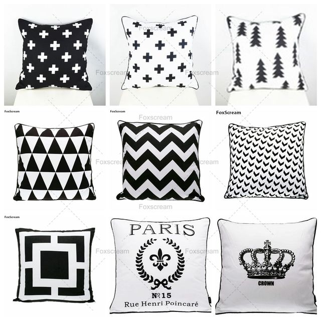 Nordic Cushion Cover Home Decor Geometric Decorative Pillows Covers Swiss Cross Cushions Velvet Black White