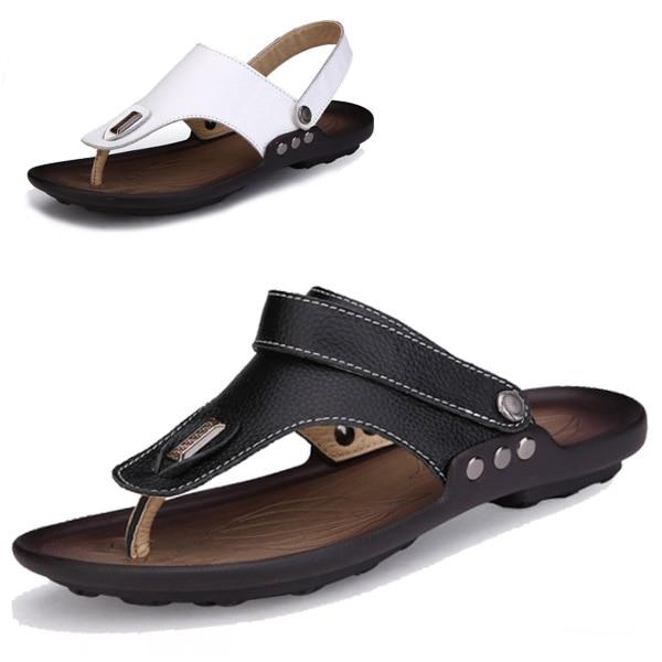 29da312d0ea Cuero genuino de verano Flip flop Zapatos para Hombre sandalias zapatillas  moda Casual Zapatos de playa suave Zapatos Hombre Chaussure Homme en  Sandalias de ...