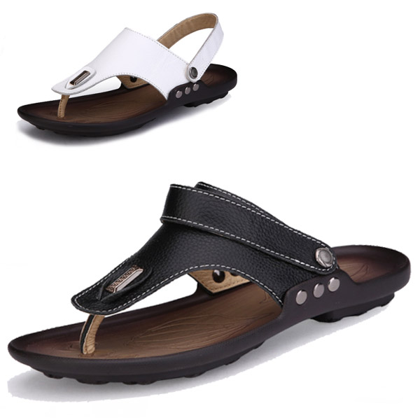 Véritable cuir Flip Flops été chaussures pour hommes sandales pantoufles  mode Casual plage chaussures souples Zapatos Hombre Chaussure Homme dans Hommes  de ...