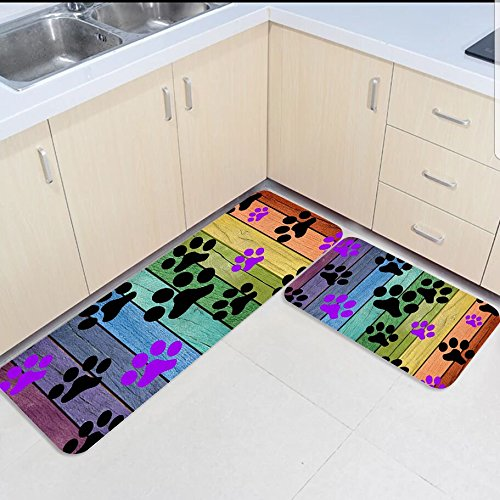 Wood Grain Print Rug: 2 Piece Kitchen Mats And Rugs Set Colorful Wood Grain