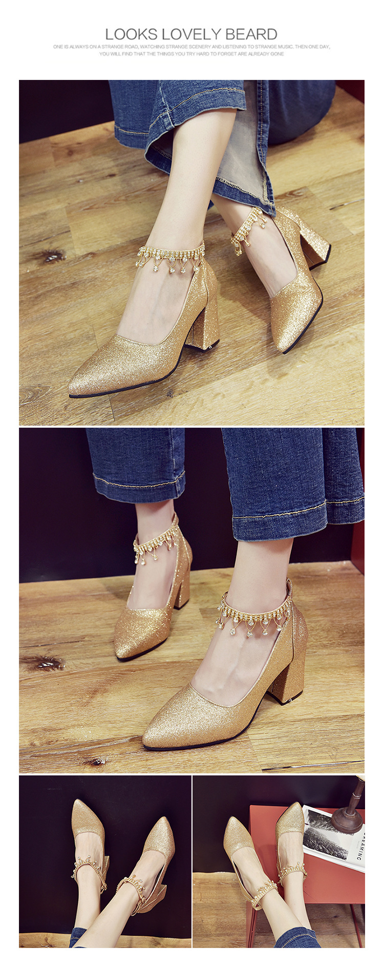 New Korean Version Of Bead-pointed Sequins For Shallow-mouthed Wedding Shoes, Thick-heeled Single-woman Shoes, High-heeled Shoes 13