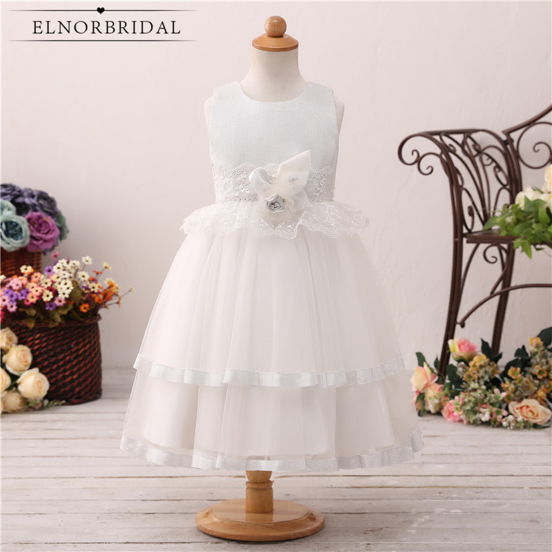 Real Images ELNORBRIDAL   Flower     Girls     Dresses   2019 Floor Length Lace Vestidos Daminha De Casamento Bow Back Wedding Party   Dress