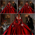 Histórico! 19 century red vintage vitoriano guerra civil southern belle vestido vestido de trajes 1860 s dress scarlett veste eua 4-36 c-057