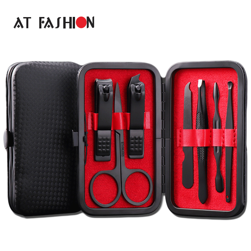 New 7 in 1 Manicure set Professional Black Stainless Steel Nail Clipper Kit Finger Plier Nails art Pedicure Toe Nail Tools Set chiyuan cr v6 6 plastic stainless steel plier black