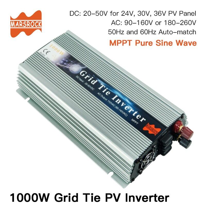 1000W Grade Empate Inversor Solar, 20-50V 80-260V de Onda Senoidal Pura DC para AC Inversor para 1000-1200W 24 V, 30 V, 36V PV ou Energia Eólica