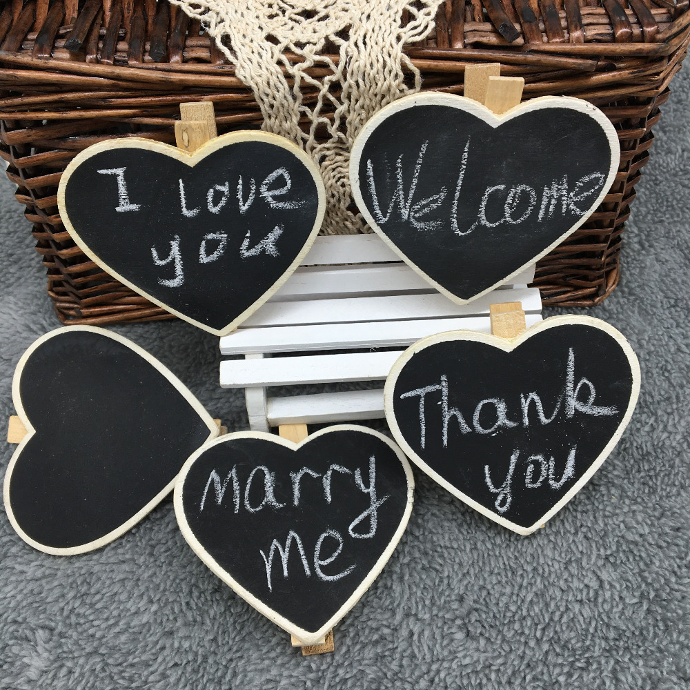 6 pcs/lot Mini Cute Heart Wooden Blackboard Chalkboards Clips Holder for Paper Decoration Photo Free shipping