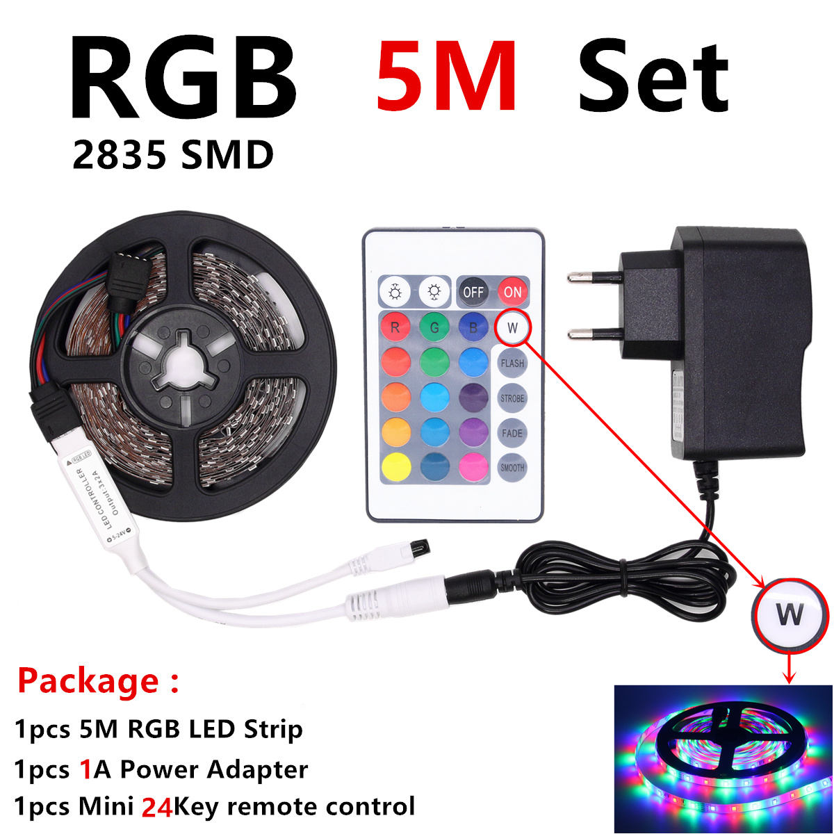 HTB10e8oXvWG3KVjSZPcq6zkbXXa9 RGB LED Strip Waterproof 2835 5M 10M DC12V Fita LED Light Strip Neon LED 12V Flexible Tape Ledstrip With Controller and Adapter