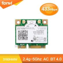 Dual Band Wireless-ac 3160 3160HMW media Mini PCI-e tarjeta wifi Inalámbrico bluetooth WI-FI 802.11 ac + Bluetooth 4.0 hasta 433 Mbps