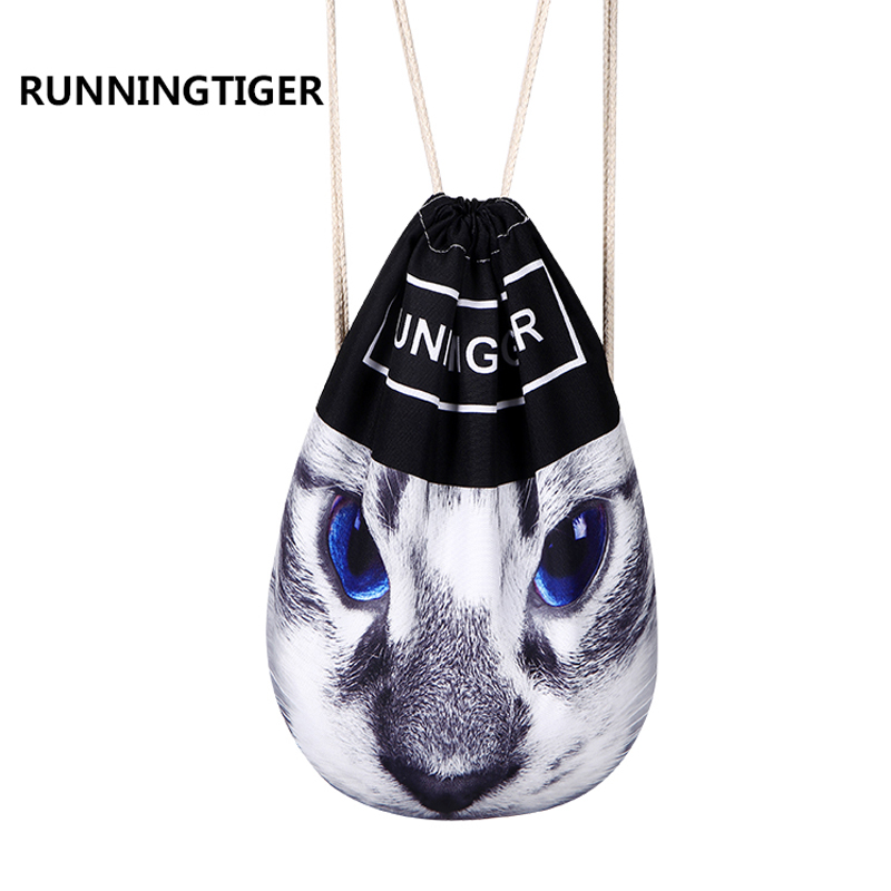 Runningtiger Brand 3d Printing Backpack Drawstring Bag Backpack Women School Bags For Teenagers Travel Softback To Be Distributed All Over The World Luggage & Bags Men's Bags