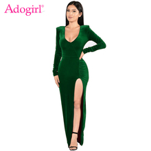 8bd7c53439 Adogirl Hot Velvet Christmas Dress Sexy Deep V Neck Long Sleeve High Slit  Bodycon Maxi Evening