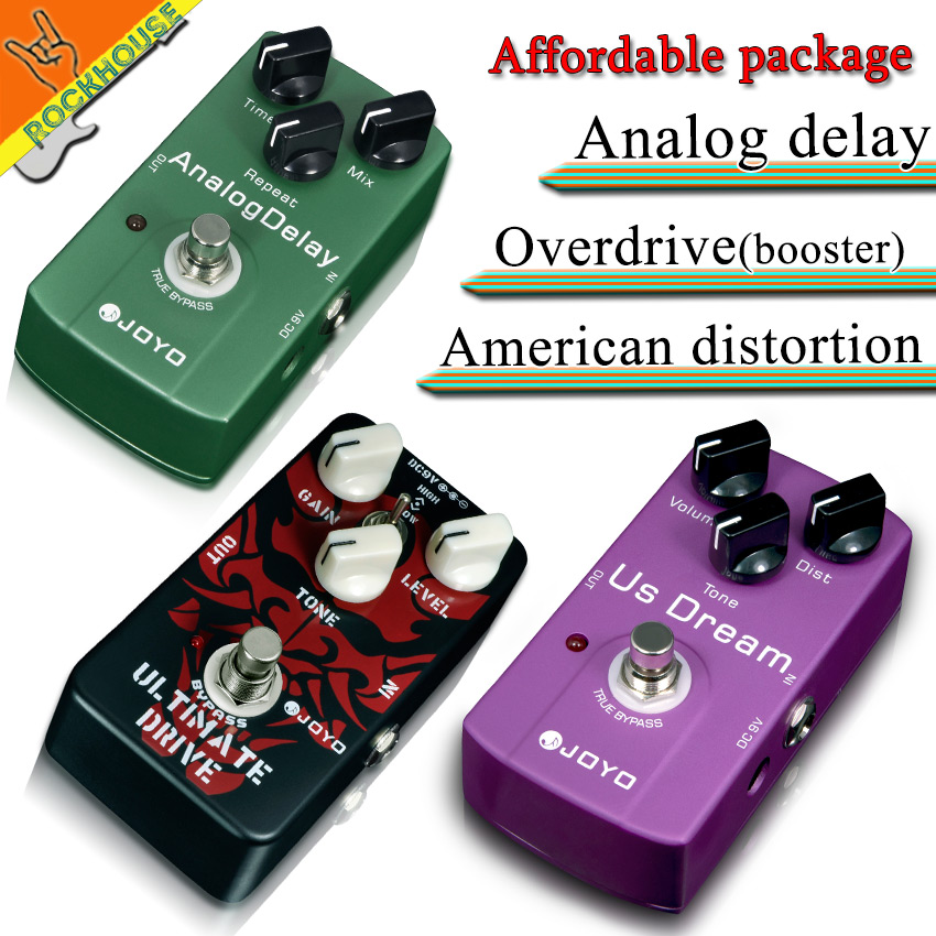 все цены на  Pedals Package sales JOYO JF-02 Drive booster+JF-34 Moden distortion+JF-33 Analog delay guitar effect pedals free shipping  онлайн