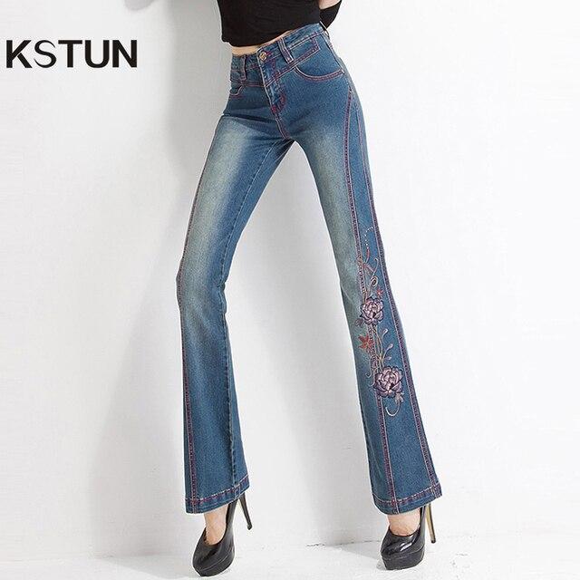 frauen jeans mit stickerei hohe taille frau stickte dnnes flare floral muster vintage qualitt glocke bottoms - Jeans Mit Muster