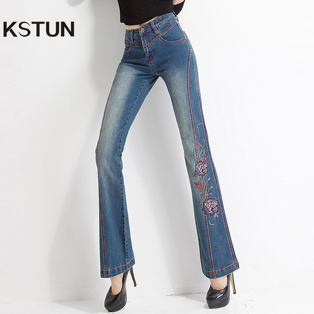 f7aecb64ac9 Women Jeans with Embroidery High Waist Woman Embroidered Slim Flare Floral  Pattern Vintage Quality Bell Bottoms Push Up Sexy 36
