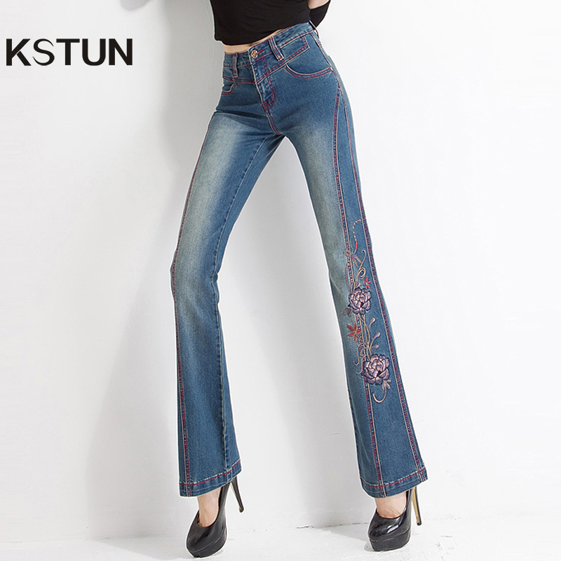Women Jeans with Embroidery High Waist Woman Embroidered Slim Flare Floral Pattern Vintage Quality Bell Bottoms Push Up Sexy 36