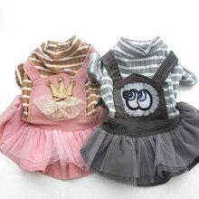 Вельветовое платье для собаки, кошки, Jmupsuit, полосатая и кружевная юбка на лямках для щенка, комбинезон, осенняя одежда, наряд