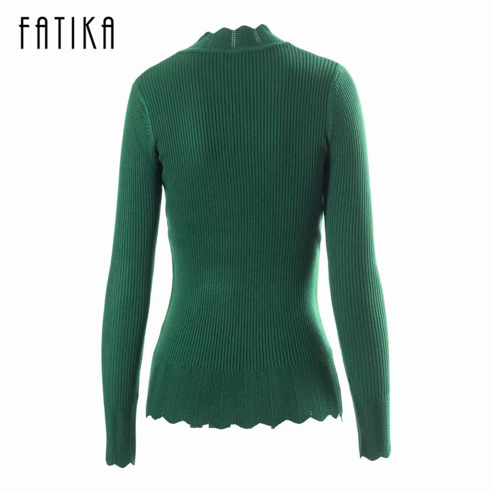 1075bbb69f2085 ... FATIKA High Elastic Knitted Women Rib Sweater And Pullover Female  Autumn Winter Turtleneck Womens Wave Bottom ...