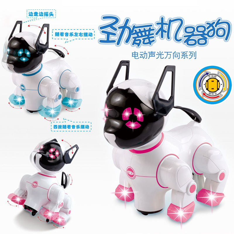 Robot Dogs Electronic Pets With Music Lighting Universal Wheel Bark Stand Walk Cute Interactive Dog Electronic Toys For Kids