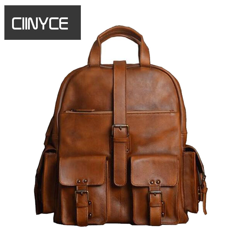 Brand Guarantee Genuine Cow Leather Men's Fashion Large Capacity Travel  Fits for 15 inches Laptop Shoulder Bag School Backpack luxury brand fashion cow genuine leather backpack large capacity travel shoulder school bags backpacks for teenage girls n068