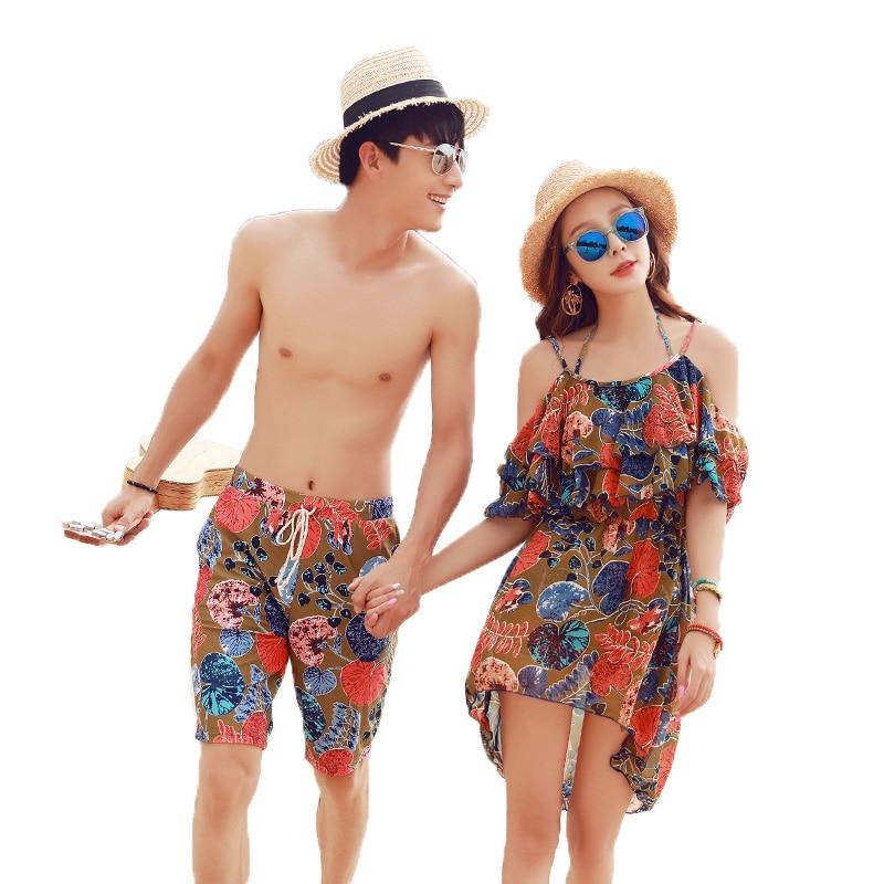 Hot Top Quality Summer Beach Sweetheart Swimwear Sexy Women 3 Pieces Bikini Push Up Swimsuit with Smock & Men Loose Beach Shorts