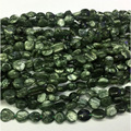 "Natural Genuine Green Seraphinite Flat Nugget Free Form Fillet Irregular Pebble Beads Fit Jewelry 15"" 04326"