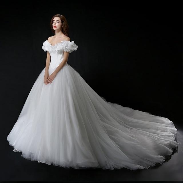 Romantic White Ball Gown Wedding Dress 2016 Tulle Butterflies Puffed Halloween Cinderella