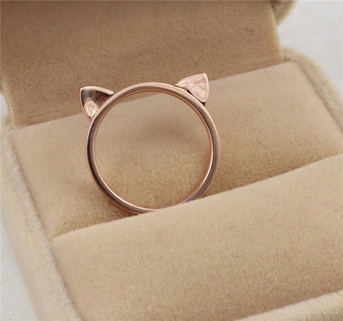 Wholesale rose gold color cute cat ears rings for women anillos, fashion ring bague femme stainless steel jewelry accessories