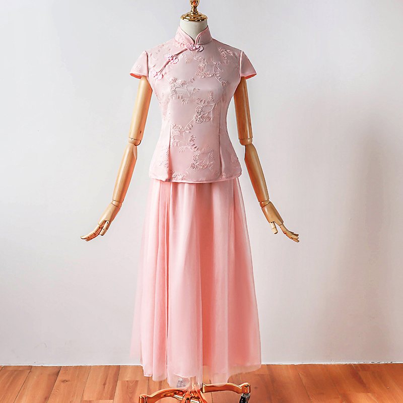 Bridesmaid Dresses Short Sleeve Yarn Mesh Dress For Wedding Party Vintage Cheongsam Party Bridesmaid Dresses Qipao Pink Color