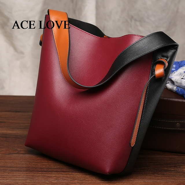 40b0759a21ee Aliexpress.com   Buy Hot Sale Leather Shoulder Bag Bucket Female Color  Block Totes Bag Casual Shopping Handbag Luxury Ccrossbody Bags For Women  Brand ...