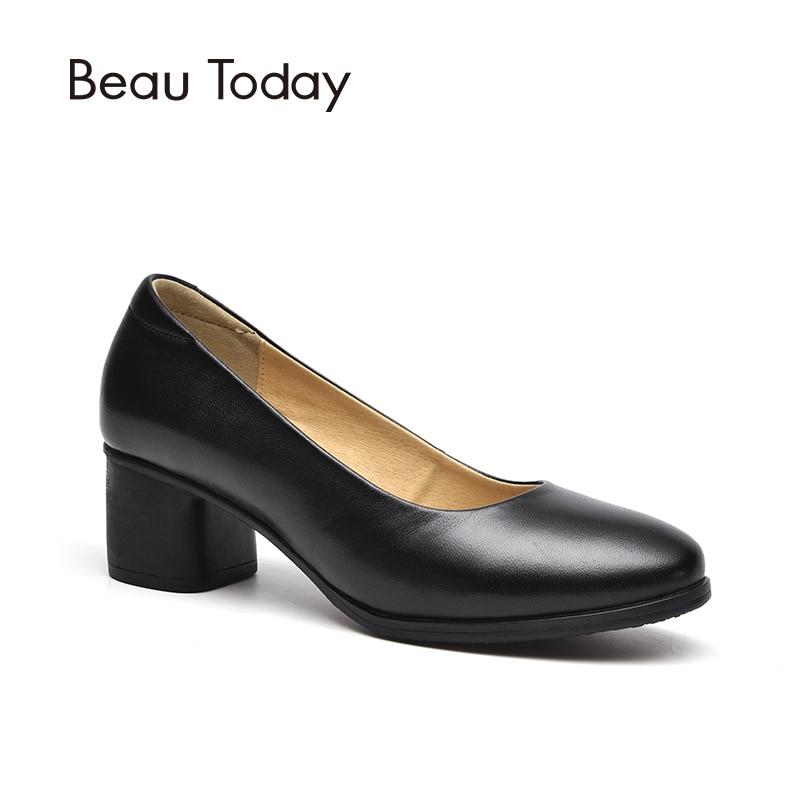 Ayakk.'ten Kadın Pompaları'de BeauToday Kadın Pompaları Nappa İnek Deri Yuvarlak Ayak Ofis Bayan Hakiki Deri Yüksek Topuk iş ayakkabısı El Yapımı 15030'da  Grup 1