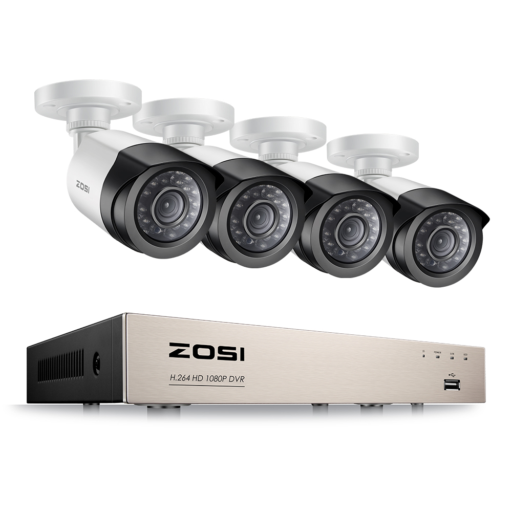 ZOSI 4CH/8CH 1080P HDMI P2P TVI DVR Surveillance System Video Output 4PCS 2000TVL 2.0MP Camera Home Security CCTV Kits NO HDD