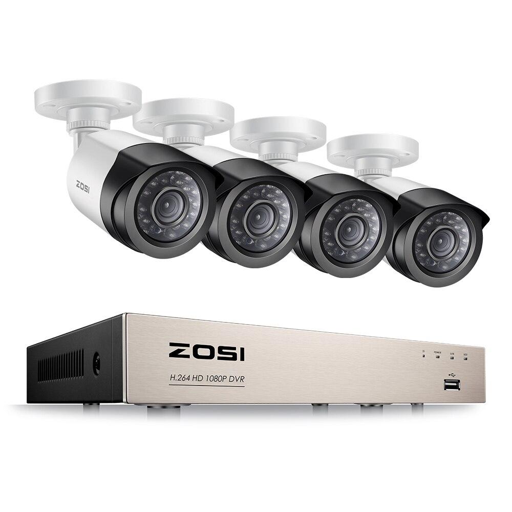 ZOSI 4ch 1080 P HDMI P2P TVI DVR Системы Скрытого видеонаблюдения Видео Выход 4 шт. 2000tvl 2.0mp IP Камера Главная безопасности CCTV наборы no HDD